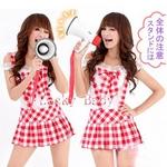コスプレ 【学生服】赤チェックのサスペンダー付スカートコスプレ 6038