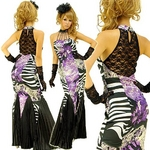ロングドレス 背中セクシーレース ラインストーン付き パープルの詳細ページへ