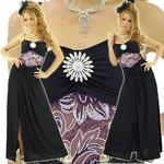 ロングドレス スパンコールブローチ付き パープルの詳細ページへ