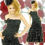 ロングドレス サテンフリルドレス 黒の詳細ページへ