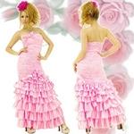 ロングドレス サテンフリルドレス ピンクの詳細ページへ