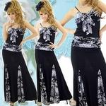 ロングドレス フラワーペイズリーMIX 切替シャーリングリボンドレス グレーの詳細ページへ