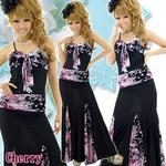ロングドレス フラワーペイズリーMIX 切替シャーリングリボンドレス チェリーピンクの詳細ページへ