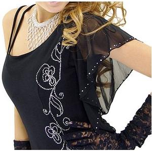 ロングドレス フレンチスリーブワンショールドレス 黒