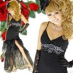 ロングドレス 胸元きらきらレース オーガンジーティアードドレス 黒の詳細ページへ
