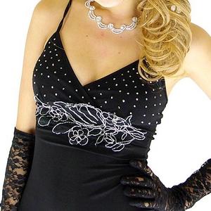 ロングドレス 胸元きらきらレース オーガンジーティアードドレス 黒