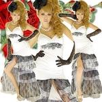 ロングドレス 胸元きらきらレース オーガンジーティアードドレス 白の詳細ページへ