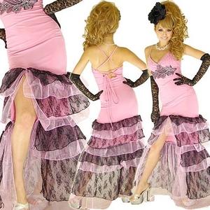 ロングドレス 胸元きらきらレース オーガンジーティアードドレス ピンク