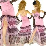 ロングドレス 胸元きらきらレース オーガンジーティアードドレス ピンクの詳細ページへ