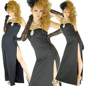 セクシースリットロングドレス【ラインストーン付き】ストレッチ素材 黒