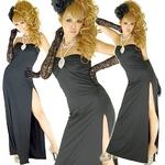 セクシースリットロングドレス【ラインストーン付き】ストレッチ素材 黒の詳細ページへ