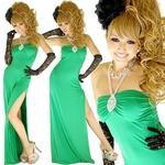 セクシースリットロングドレス 【ラインストーン付き】ストレッチ素材 グリーンの詳細ページへ