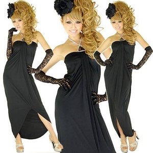 ストレッチロングドレス ストーン付き  黒