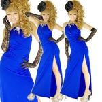 セクシースリットロングドレス ビッグストーン付き ロイヤルブルーの詳細ページへ