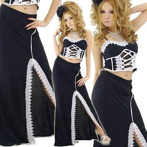 ドレス バックスピンドルケミカルレース ロング2ピース(セパレート) 黒