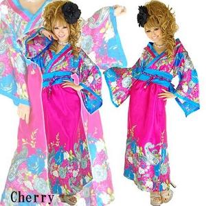 和柄サテン着物ドレス 【オリエンタルワンピ】 チェリーピンク