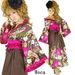 和柄サテン着物ドレス 【オリエンタルワンピ】 モカチャの詳細ページへ