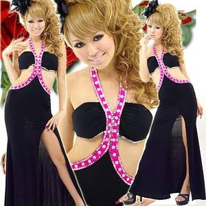 ロングドレス ビーズ付きセクシードレス チェリーピンク