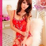 コスプレ 2011新作 ゴージャス刺繍ランジェリー4点セット・レッド