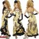 ロングドレス サテンアニマル柄 胸元ビジュー付き アシンメトリーフレアードレス ゴールド