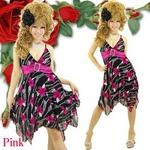 ミニドレス きらきらラインストーンバックル アシメトリードレス ピンク