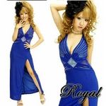 ロングドレス ウエスト&バックチュールラメ セクシードレス ロイヤルブルー