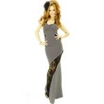 ドレス レース切り込み脚魅サイド魅せバイアスストライプロングドレス 黒