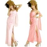 ドレス ストール付き流れるレース×ジルコンラインストーン大胆スリットロングドレス オフホワイト
