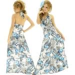 ドレス 放射スパンコールクリアビジュ流れるフラワーペイズリー柄サテンプリーツロングドレス ターコイズブルー