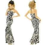 ドレス ジルコンホルターモノクロトライバル風柄ロングドレス 黒