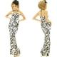 ドレス ジルコンホルターモノクロトライバル風柄ロングドレス 白