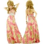 ドレス 花紋幾何学模様シルバースパンサテンプリーツロングドレス チェリーピンク
