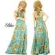 ドレス 花紋幾何学模様シルバースパンサテンプリーツロングドレス ターコイズブルー