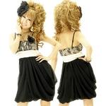 ドレス 胸元サテン切り替えふんわシフォンりコクーンシルエットミディドレス ゴールド