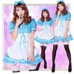 コスプレ ポケット付エプロン♪ブルーのアキバメイドコスプレ(3点)