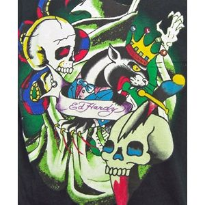 ED HARDY(エドハーディー) メンズTシャツ 丸首 Uネック PANTHER&SKULLS BLACK M