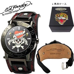 ed hardy(エドハーディー) 腕時計 メンズ/レディース ラブキル【HU-LK0082】ブラック