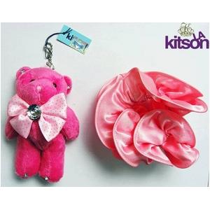 KITSON(キットソン) クマ キーホルダー 携帯ストラップ&シュシュ セット ピンク