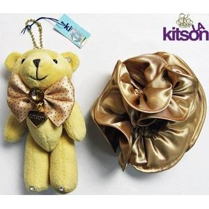 KITSON(キットソン) クマ キーホルダー 携帯ストラップ&シュシュ セット ベージュ