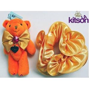 KITSON(キットソン) クマ キーホルダー 携帯ストラップ&シュシュ セット オレンジ