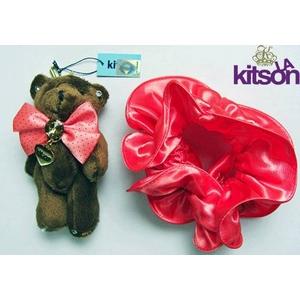 KITSON(キットソン) クマ キーホルダー 携帯ストラップ&シュシュ セット ブラウン×ピーチ