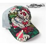 Ed Hardy(エドハーディー) キャップ SPECIALTY STONE CAP SKULL FLOWER ストーン付き ブラック×グレー