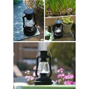バッテリー内蔵型 ソーラー発電&手動発電機能! おしゃれな防災LEDランタン明るい7灯ライト(ブラック)