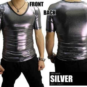 Luxury Black(ラグジュアリーブラック) シャイニー加工 VネックTシャツ SLV(シルバー) Mサイズ