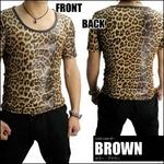 Luxury Black(ラグジュアリーブラック) レオパードUネックシャイニーTシャツ BRW(ブラウン) Mサイズ