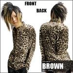 Luxury Black(ラグジュアリーブラック) レオパードドレスシャツ BROWN(ブラウン) Mサイズ