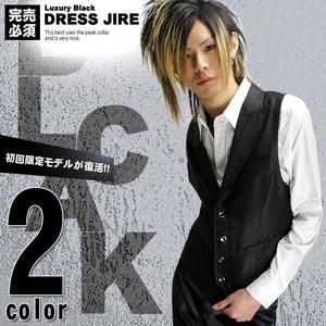 Luxury Black(ラグジュアリーブラック) ピーク衿シャイニードレスジレ WHT(ホワイト) Mサイズ