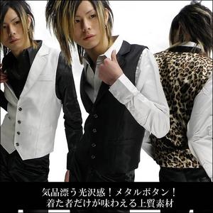Luxury Black(ラグジュアリーブラック) ノッチ衿シャイニードレスジレ ヒョウ柄 Sサイズ