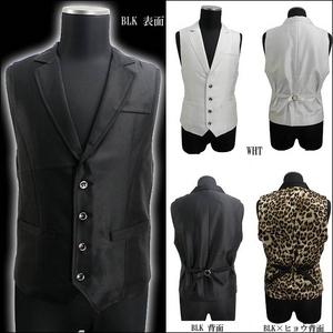 Luxury Black(ラグジュアリーブラック) ノッチ衿シャイニードレスジレ ヒョウ柄 Mサイズ