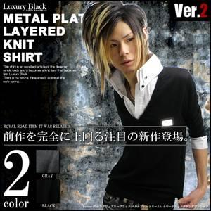 Luxury Black(ラグジュアリーブラック) メタルプレートレイヤードニットボタンダウンシャツ BLK(ブラック) Lサイズ